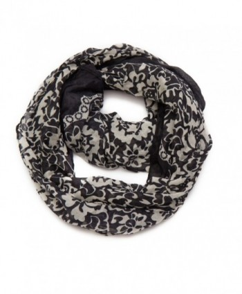 Huan Xun Women Floral Print Circle Infinity Scarf Long - B Black and White - CJ11P7VRYG7