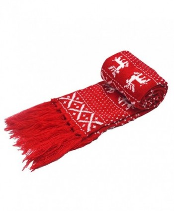Monique Unisex Christmas Snow Deer Crochet Knitting Scarf Winter Jacquard Weave Scarves Wraps Shawls - Red - CV186M86NE7