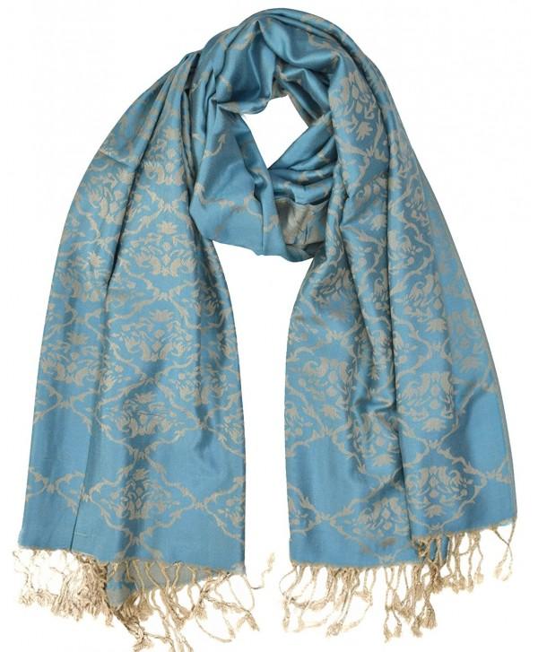 Peach Couture Damask Quatrefoil Pashmina Jacquard Shawl Scarf Wraps - Teal - C9186RNH033
