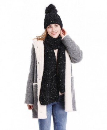 Bienvenu Women Soft Warm Cable Knitted Warm Fleece Lining Hat Scarf Winter Set - Black - CS186LAX8G6