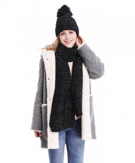 Bienvenu Women Soft Warm Cable Knitted Warm Fleece Lining Hat Scarf Winter Set - Black - CS186LAX8G6