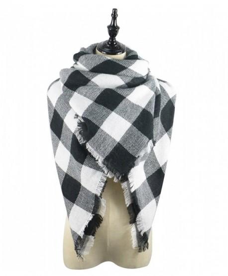 Zando Blanket Oversized Scarves Fashion - D Black White Scarf - C1186KEUKAD