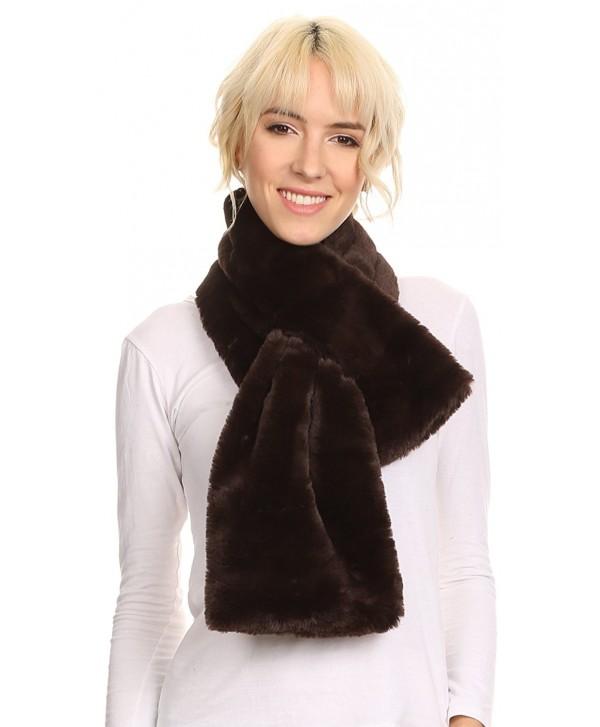 Sakkas Malen Long Rectangle Faux Fur Warm Soft Furry Wrap Around Loophole Scarf - Brown - C212MX3I97J
