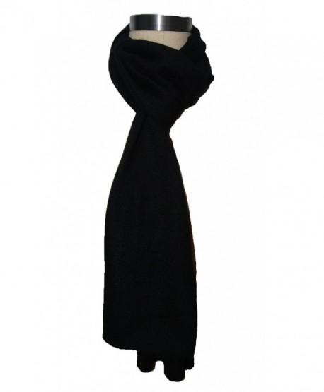 Miuk 2017 New Womens 100% Pure Cashmere Scarf Winter Warm Knitting - Black - CP11OCLMGNT