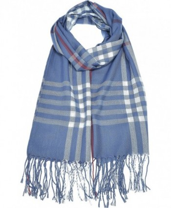 Hand By Hand Aprileo Women's Plaid Scarf Checkered Classic Long Wrap Shawl - Denim Blue - CY188DK4W3H