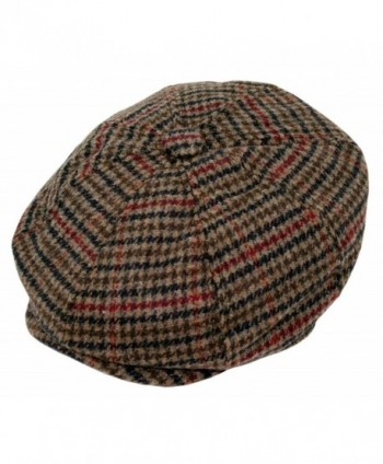 Men's Wool Blend Applejack Houndstooth Plaid IVY newsboy Hat - Brown - CB126W6JAL1