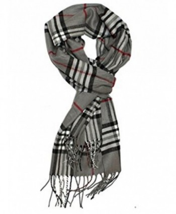 Classic Style Plaid Checked Cashmere Feel Winter Scarf with Hair Tie. - A4 - CT12MYE7ZS0