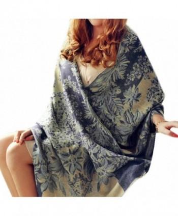 Nagoo 190cm x 70cm Womens Floral Pattern Long Soft Pashmina Wrap Stole Shawl Scarves - Dark Blue - C012N3ARZZ1