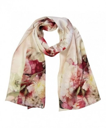 Wrapables Luxurious 100% Charmeuse Silk Long Scarf with Hand Rolled Edges - Pink Peonies - C9183X9MZRK