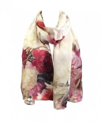 Wrapables Luxurious Charmeuse Rolled Peonies in Fashion Scarves