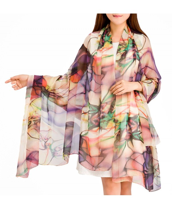 MedeShe Floral Printed Lightweight Chiffon Scarves Holiday Beach Cover Up - Tropical Color - CA12IEMXVS5