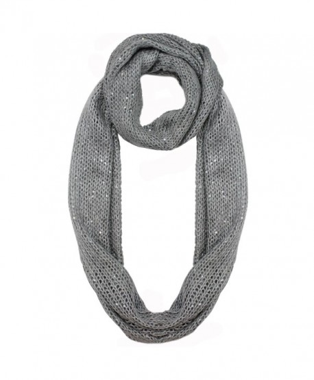 Sequin Specked Knit Infinity Winter Scarf - Gray - C1110C3W70N