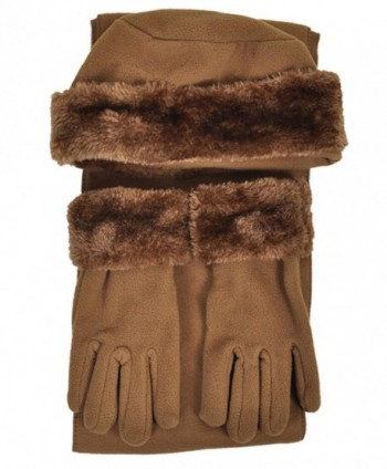 Cloche Fur Trim 3 Piece Fleece Hat- Scarf & Glove Women's Winter Set - Light Brown - CZ11GSJJGVN