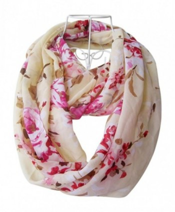 HONEYJOY Women Fashion infinity Flower Pattern Charming Print Shawl Scarf Wrap - Pink - C412NGGRNY6