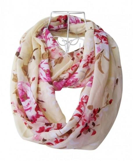 HONEYJOY Women Fashion infinity Flower Pattern Charming Print Shawl Scarf Wrap - Pink - C412NGGRNY6