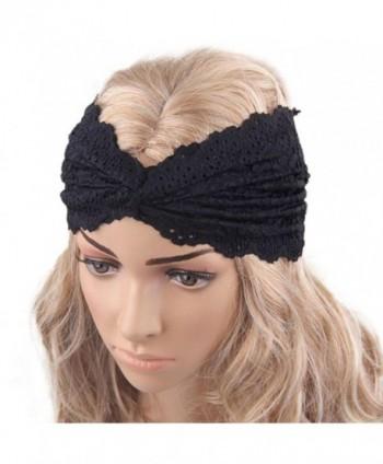 XUANOU Women Headscarf Retro Style Yoga Sport Lace Headband Turban Wrap - Black - CK12MNTUWOL