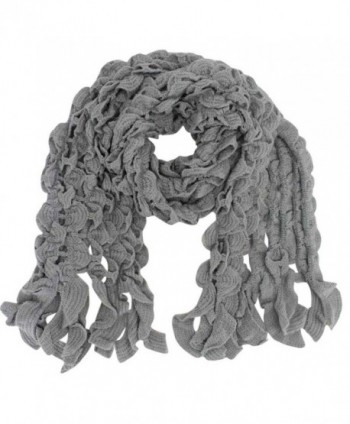 Womens Scalloped Knit Winter Scarf - Gray - CO110FSE9JH