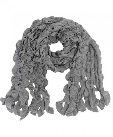 Womens Scalloped Knit Winter Scarf - Gray - CO110FSE9JH