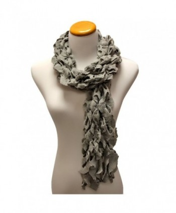 Grey Womens Scalloped Winter Scarf in Cold Weather Scarves & Wraps