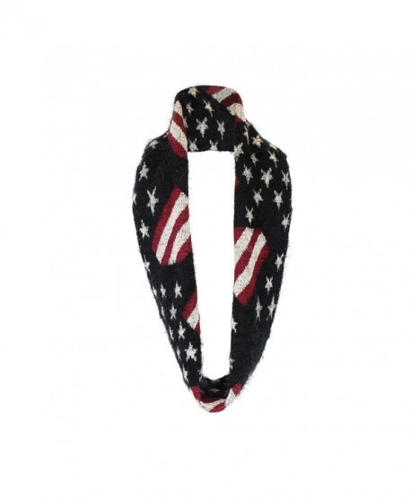 Plush Chenille Infinity Loop Winter Scarf- Connected Ends- American Flag Pattern - Black - CP127RZI0EF