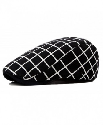 Qunson Men's Vintage Plaid Ivy Cabbie Newsboy Cap Hat - Black - CG12FM9OJKR