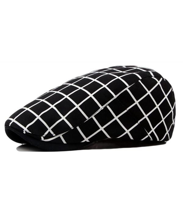 Qunson Men's Vintage Plaid Ivy Cabbie Newsboy Cap Hat - Black - CG12FM9OJKR