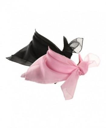 Black & Light Pink Scarf Set - 2 Sheer Chiffon 50s Style Scarves - Hey Viv Retro - CG12O2NTHHW