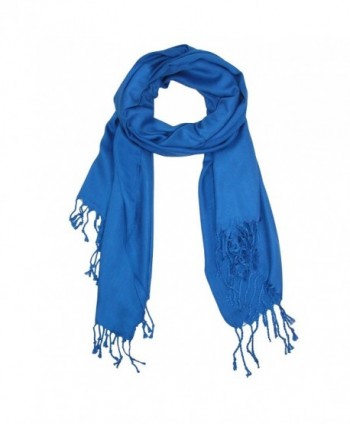 CTM Women's Classic Pashmina Shawl Wraps - Royal Blue - C9110DZAGVB