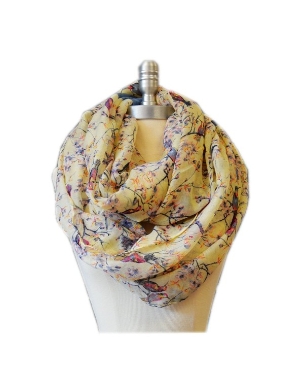SCARF_TRADINGINC Floral Butterfly Bird Dragonfly Light Weight X-large Infinity Scarf - Bird and Floral Beige - CY11PLXNLP9