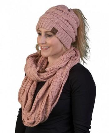 Funky Junque CC Messy Bun BeanieTail Bundled w Matching Infinity Scarf - Indi Pink - CU1808QL9XE