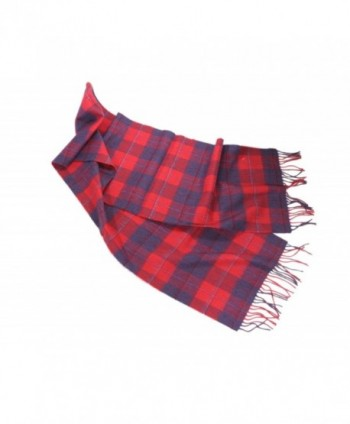 "Merino Wool Scarf Limited Edition Plaids 12"" x 72"" Irish Made - Red/Purple - C8182YUW5WQ"