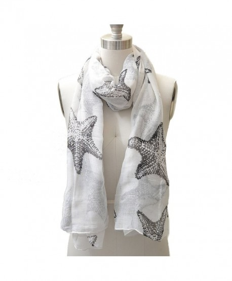 HUE21 Women's Trendy Starfish Pattern Fashion Scarf Black and White Color - C711HLY400L