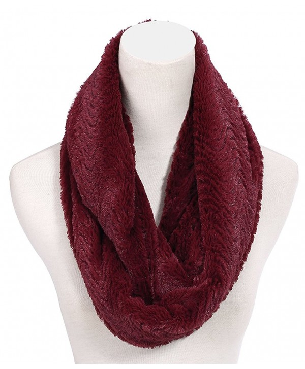 SPRING SALE Lush Faux Fur Infinity Scarf Easter Gift Idea for Women (ASSORTED COLORS) - Burgundy - CG187AU3IYG