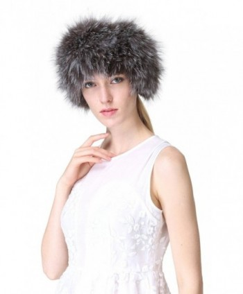 Vogueearth Women'Real Fox Fur Winter Headband Neck Warmer Scarf - Silver Fox - C812JKTCQTB
