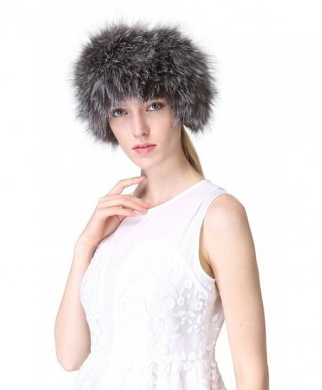 Vogueearth Women'Real Fox Fur Winter Headband Neck Warmer Scarf - Silver Fox - C812JKTCQTB