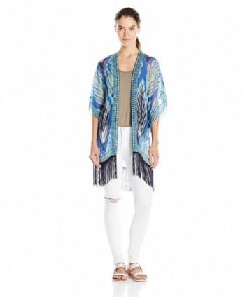 Theodora & Callum Women's Feathers Kimono - Cobalt - CW128SJFKMJ