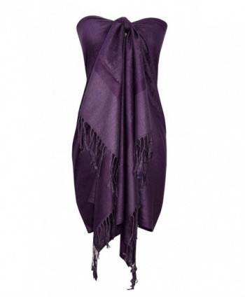 Peach Couture Double Layer Hues of Purple Jacquard Paisley Pashmina Feel Shawl - Eggplant - CH185C760WQ