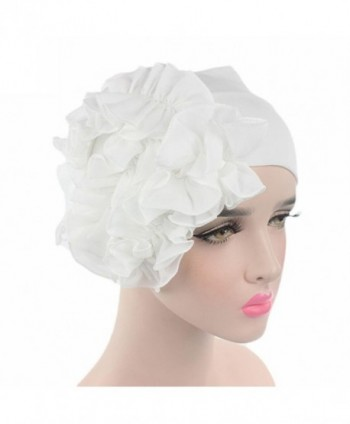 Littleice Women Flower Cancer Chemo Hat Beanie Scarf Turban Head Wrap Cap Headband - White - CN185W87920