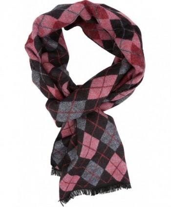 Sakkas Ezel Long Warm Argyle Patterned UniSex Cashmere Feel Scarf - Pink - CS12LBFBO6N