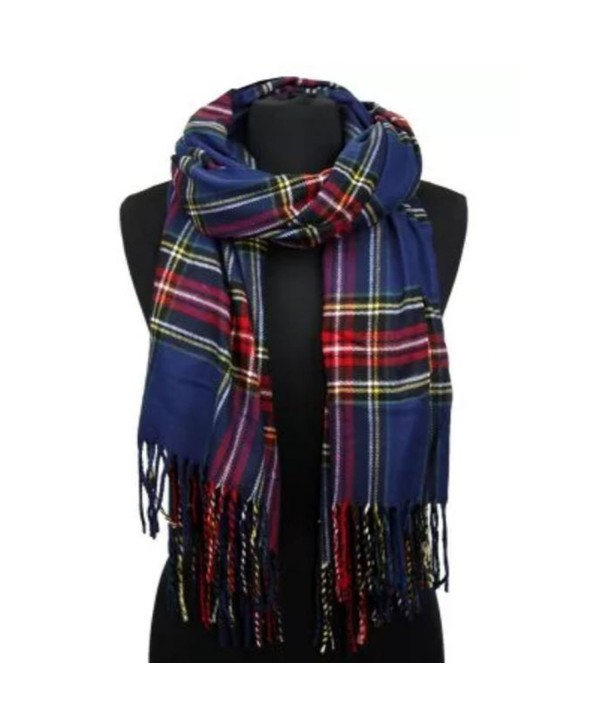 Apparelism Women's Winter Scottish Clan Plaid Oversized Cashmere Feel Blanket Scarf Wrap Shawl. - Plaid Navy - CQ18948XQW4