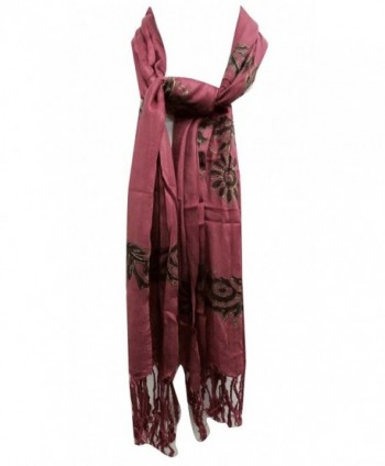 Cotton Scarf Indian Fashion Wear Summer Scarves Bandana Rectangle 62 X 27 Inches - Mauve - CF11O6MMODB
