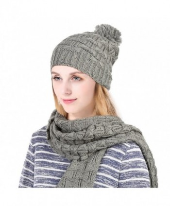 Vbiger Warm Winter Knit Hat and Scarf Set- 2-Pieces Winter Knitted Set for Men and Women - A-Grey - CQ185DKHN9X