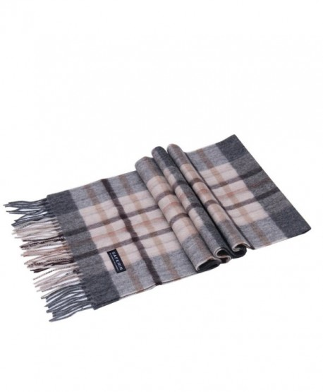 Saferin Women Men Cashmere and Wool Plaid Warm Soft Scarf with Gift Box - F005-grey and Beige Plaid - C4185OX6XS9