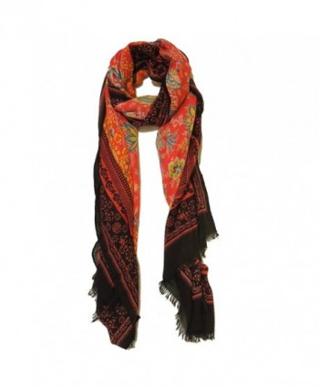 Women's Spring Scarves- Infinity Scarf / Blanket Scarf / Shawl / Fashion Scarf - Floral Red - CP17YNS32N2