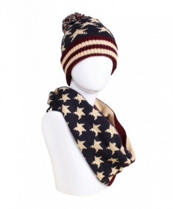 American Flag Knitted Hat- Scarf- Gloves Set - Hat and Infinity Scarf - CK1895T00IE