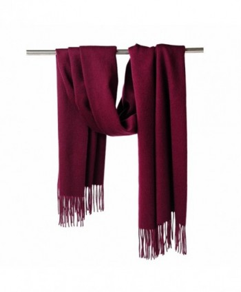 CUDDLE DREAMS Cashmere Wool Scarf Wrap with Fringe (FINAL CLEARANCE SALE) - Burgundy. - CP187RCC232