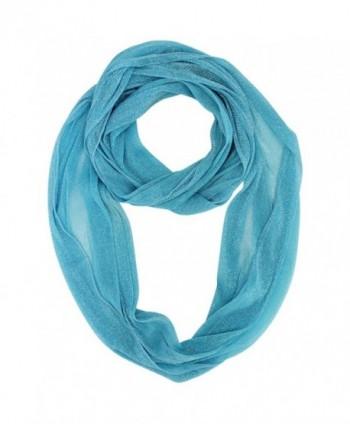 Sheer Metallic Infinity Scarf - Turquoise - CW1167ESCMX