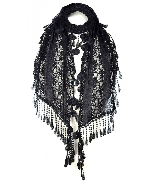 AN Lace Scarf Romantic Unique Duo Tassels Circle Teardrops Fringe Womens Fashion - Black - CS12OBR8DHK