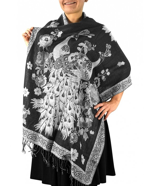 Peach Couture Floral Peacock Reversible Shimmer Layered Pashmina Wrap Shawl Scarf - Black/White - C31875MHYMT