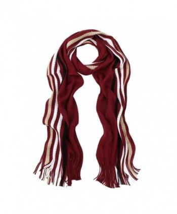 Classic Premium Unisex Striped Winter Knit Fringe Scarf - Different Colors - V6 - C4127NGB60X